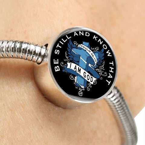 Be Still, White Background Circle with Durable Steel Bracelet Circle Charm