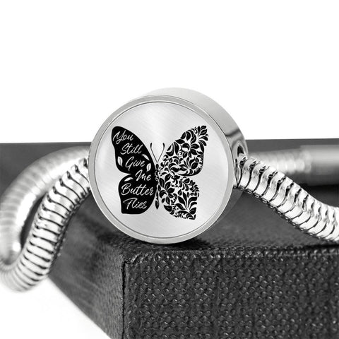 Butterflies Black and White Circle with Durable Steel Bracelet Jewelry