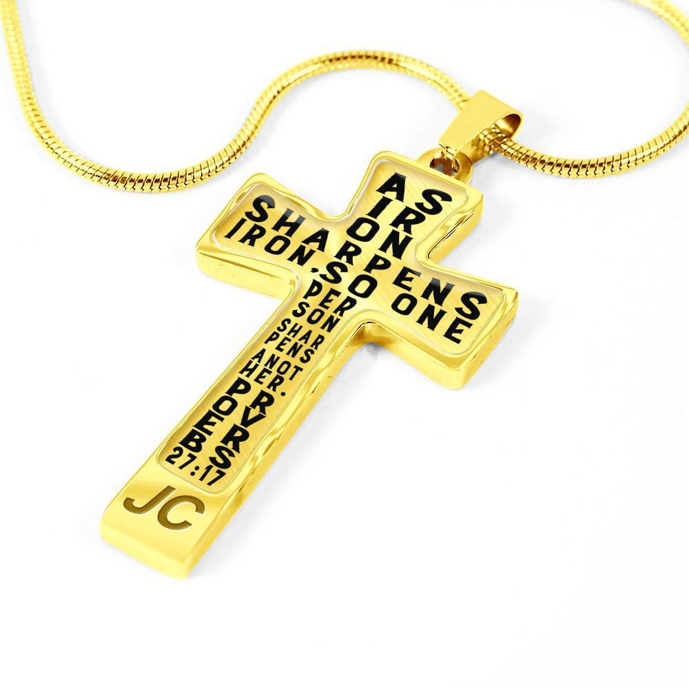 Proverbs 27:17 Premium Cross, Black