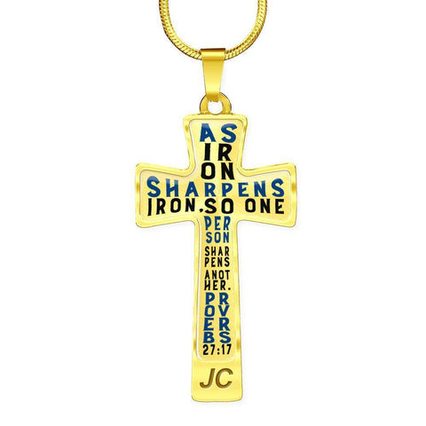 Image of Proverbs 27:17 Premium Cross, Blue Jewelry