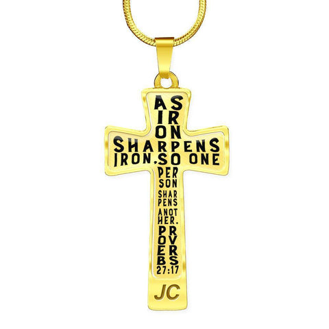 Image of Proverbs 27:17 Premium Cross, Black