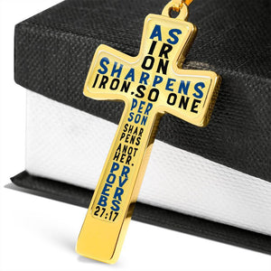 Proverbs 27:17 Premium Cross, Blue Jewelry Luxury Necklace (Gold) No