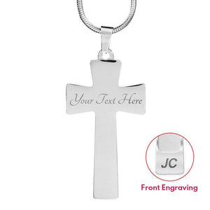 Proverbs 27:17 Premium Cross, Blue Jewelry Luxury Necklace (Silver) Yes