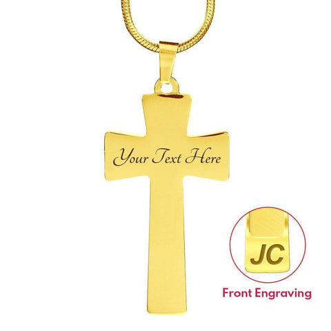 Image of Proverbs 27:17 Premium Cross, Blue Jewelry Luxury Necklace (Gold) Yes