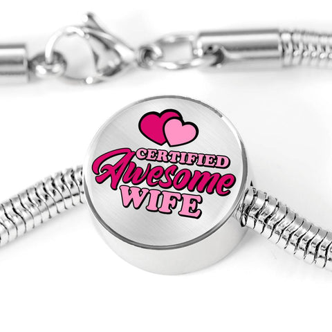 Certified Awesome Wife Circle with Durable Steel Bracelet Jewelry M/L Bracelet & Charm No