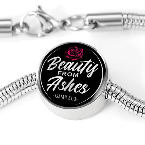 Beauty From Ashes Black Circle with Durable Steel Bracelet Jewelry M/L Bracelet & Charm No