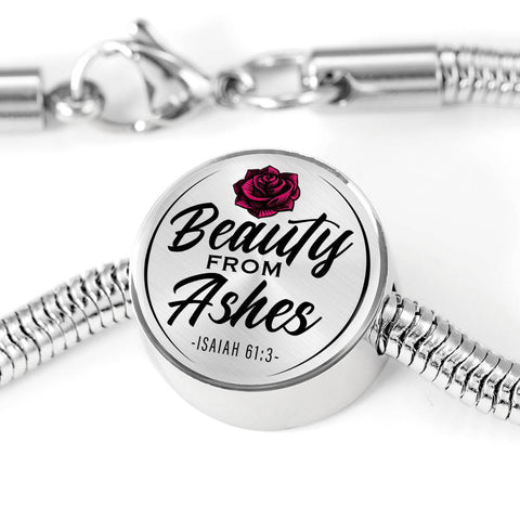 Beauty From Ashes White Circle with Durable Steel Bracelet Jewelry M/L Bracelet & Charm No