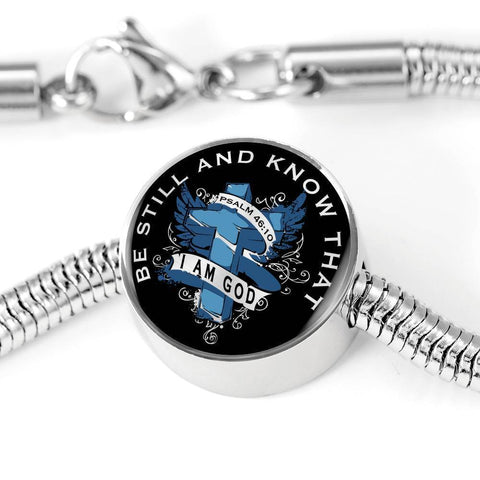 Be Still, Clear Background Circle with Durable Steel Bracelet Circle Charm M/L Bracelet & Charm No
