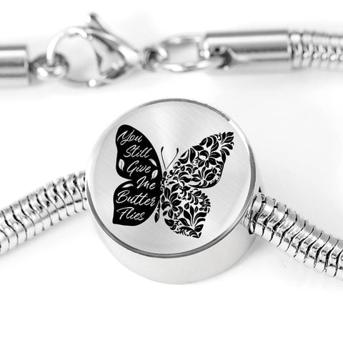 Butterflies Black and White Circle with Durable Steel Bracelet Jewelry M/L Bracelet & Charm No