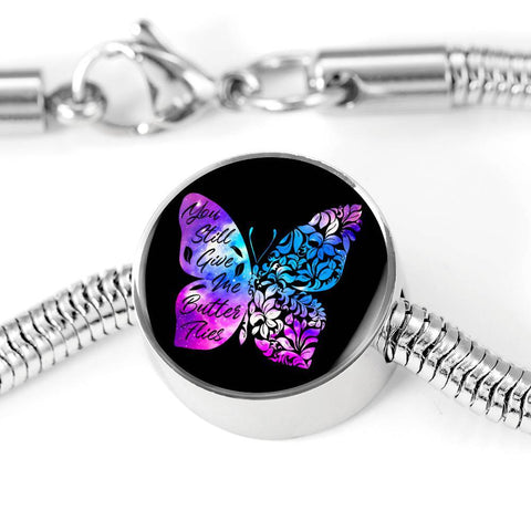 Butterflies Color Circle with Durable Steel Bracelet Jewelry M/L Bracelet & Charm No
