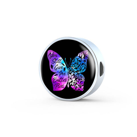 Butterflies Color Circle with Durable Steel Bracelet Jewelry Charm Only No