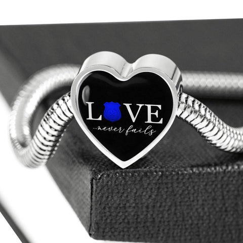 Love Never Fails, Police Heart Charm Bracelet Jewelry