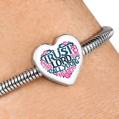 Image of Trust in The Lord, White Heart Charm Bracelet