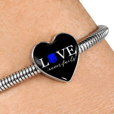 Image of Love Never Fails, Police Heart Charm Bracelet Jewelry