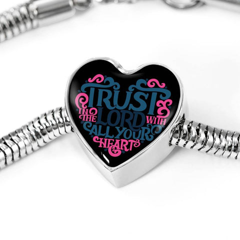 Image of Trust in the Lord Black Jewelry M/L Bracelet & Charm No