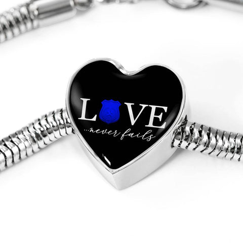 Image of Love Never Fails, Police Heart Charm Bracelet Jewelry M/L Bracelet & Charm No