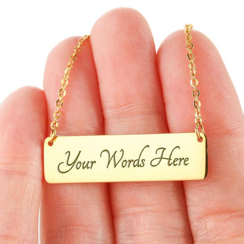 To My Wife | Pendant Necklace, This Will Melt Her Heart Jewelry 18K Gold Over Stainless Steel Horizontal Bar Necklace Yes