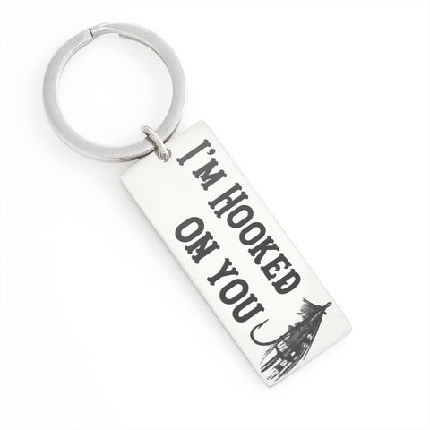 I'm Hooked On You, Fly Jewelry Stainless Steel Rectangle Keychain No
