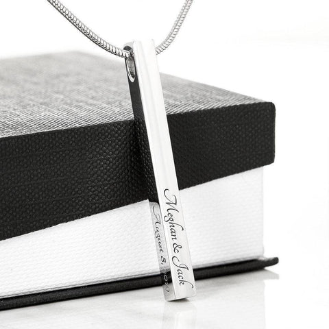 Image of Stylish Bar Necklace With YOUR Custom Engraving | Vertical Stick Necklace Jewelry