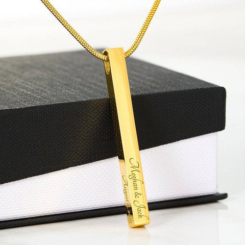 Stylish Bar Necklace With YOUR Custom Engraving | Vertical Stick Necklace Jewelry