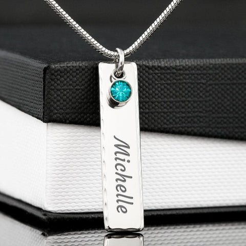 Image of Birthstone Pendant Necklace with Your Custom Engraving Jewelry
