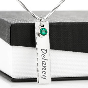 Birthstone Pendant Necklace with Your Custom Engraving Jewelry Birthstone Name Tag