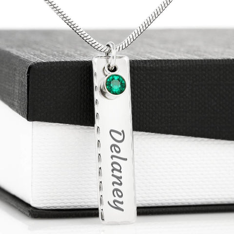 Image of Birthstone Pendant Necklace with Your Custom Engraving Jewelry Birthstone Name Tag