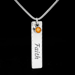 Birthstone Pendant Necklace with Your Custom Engraving Jewelry