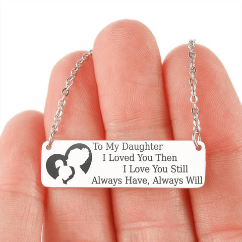 Image of To My Daughter | Keep Near Her Heart Jewelry Stainless Steel Horizontal Bar Necklace No