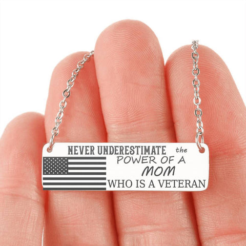 Powerful Mom and Veteran Necklace Jewelry Stainless Steel Horizontal Bar Necklace No