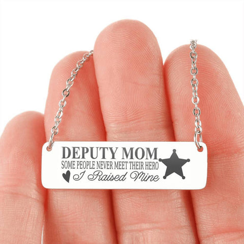 Deputy Mom | You Raised Your Hero Jewelry Stainless Steel Horizontal Bar Necklace No