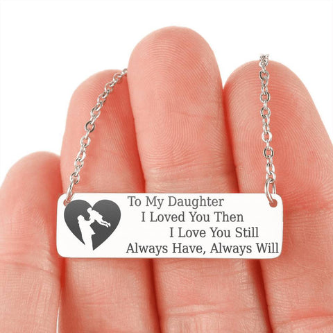 To My Daughter, Dad | Keep Near Her Heart Jewelry Stainless Steel Horizontal Bar Necklace No