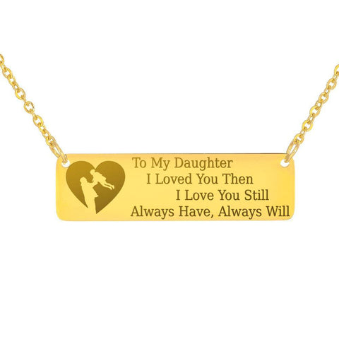 To My Daughter, Dad | Keep Near Her Heart Jewelry 18K Gold Over Stainless Steel Horizontal Bar Necklace No