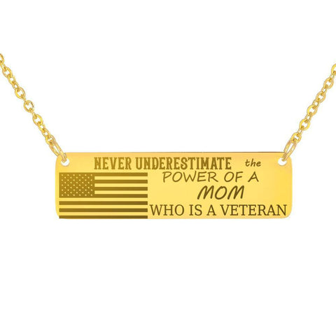 Powerful Mom and Veteran Necklace Jewelry 18K Gold Over Stainless Steel Horizontal Bar Necklace No