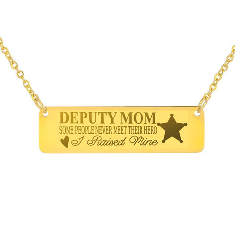 Image of Deputy Mom | You Raised Your Hero Jewelry 18K Gold Over Stainless Steel Horizontal Bar Necklace No