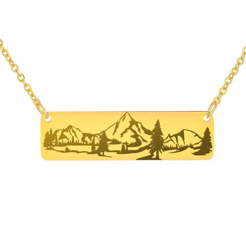 Image of Mountains Necklace | Crazy Offer Jewelry 18K Gold Over Stainless Steel Horizontal Bar Necklace No