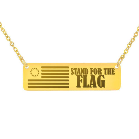 Image of Stand For The Flag | Some Fought For The Right Jewelry 18K Gold Over Stainless Steel Horizontal Bar Necklace No