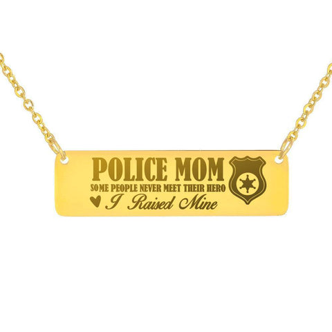 Epic Police Mom Necklace Jewelry 18K Gold Over Stainless Steel Horizontal Bar Necklace No