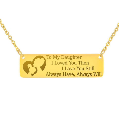 Image of To My Daughter | Keep Near Her Heart Jewelry 18K Gold Over Stainless Steel Horizontal Bar Necklace No