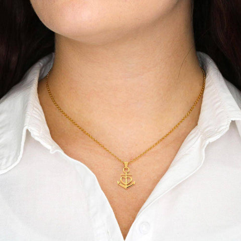 Image of Last Breath Necklace, Love You Forever Jewelry 18k Yellow Gold Finish Friendship Anchor