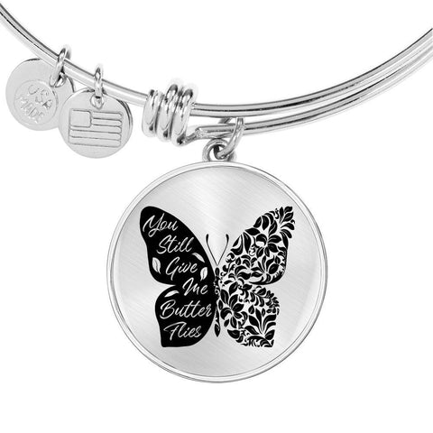 Butterflies Black and White Circle Bangle Jewelry