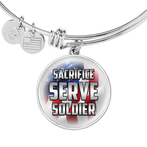 Sacrifice, Serve, Soldier(silver) | Circle Bangle Jewelry