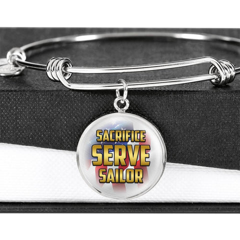 Sacrifice, Serve, Sailor(gold) | Circle Bangle Jewelry Luxury Bangle (Silver) No