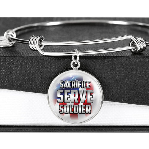 Sacrifice, Serve, Soldier(silver) | Circle Bangle Jewelry Luxury Bangle (Silver) No