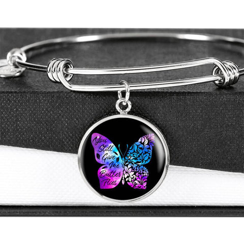 Butterflies Color Circle Bangle Jewelry Luxury Bangle (Silver) No