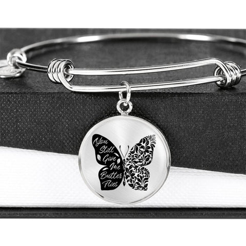 Butterflies Black and White Circle Bangle Jewelry Luxury Bangle (Silver) No