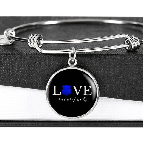 Love Never Fails, Police | Circle Bangle Jewelry Luxury Bangle (Silver) No