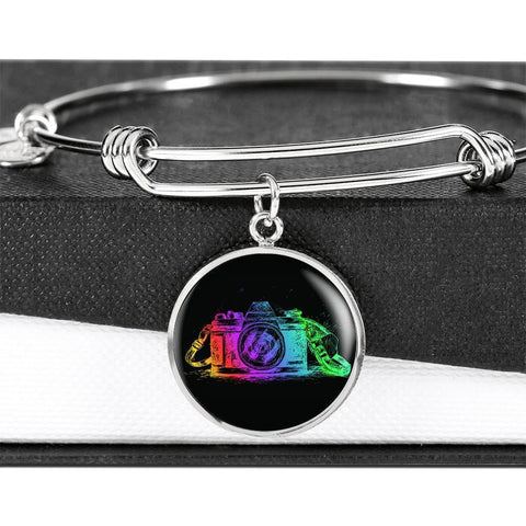 Image of Colorful Camera Bangle Jewelry Luxury Bangle (Silver) No