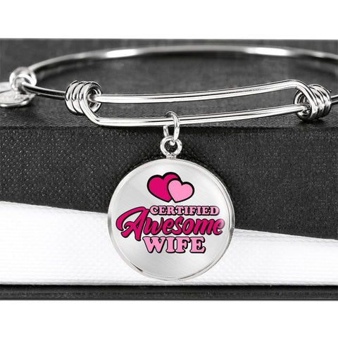 Certified Awesome Wife Circle Bangle Jewelry Luxury Bangle (Silver) No