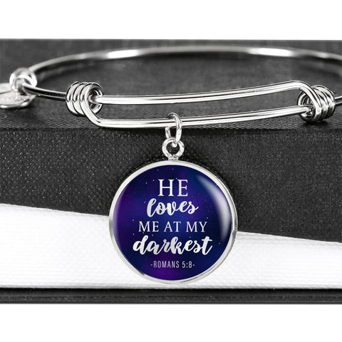 Loves me at my Darkest Color Circle Bangle Jewelry Luxury Bangle (Silver) No